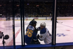 Great seats at the Blues game in January 2013.