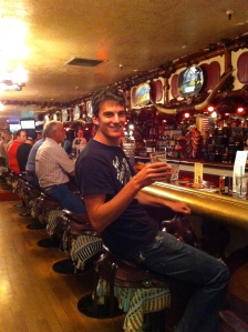 The Million Dollar Cowboy Bar features saddle barstools and line dancing. Unfortunately the beer is all bottled.