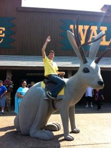 Riding the jackalope at Wall Drug