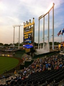 The giant scoreboard at Kaufman Stadium