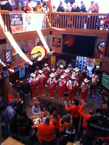 The Oklahoma State Marching Band performing in Eskimo Joe's