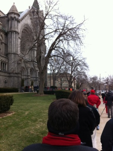 Waiting in line to get into the Cathedral for Stan Musial's unveiling.