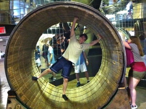 My friend Danny enjoying the hamster wheel