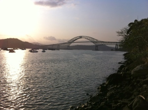 The Bridge of the America's spanning the Pacific entrance to the Panama Canal.