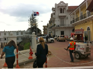 The President's house from behind the barricade.
