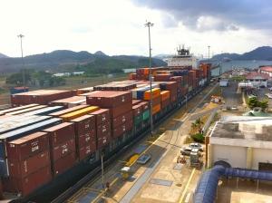 Ocean liner in the Miraflores Locks, Panama Canal.