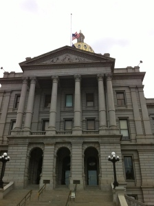 The Colorado State Capitol Building in Denver. The building is exactly 1 mile above sea level.