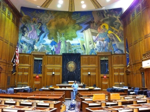 The Senate Chamber in the Indiana State Capitol in Indianapolis