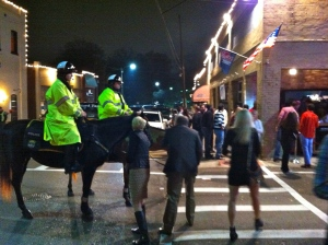 Oxford mounted police outside the bars in the Square.