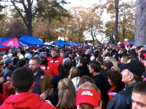 Walk of Champions- the team is in the red sweatshirts.