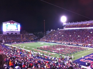 The Pride of the South marching band in Vaught-Hemingway Stadium