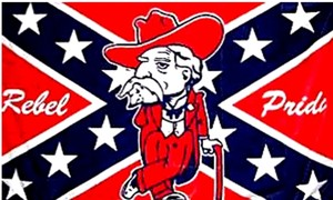 An Ole Miss flag featuring Colonel Reb.