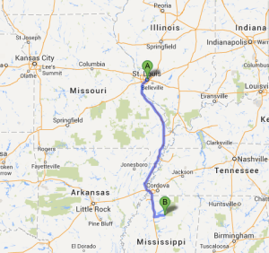 The route. 5 hours 45 minutes driving time.
