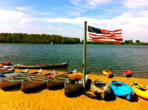 Kayak rentals on a windy day.