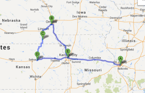 Map of my 1100-mile road trip