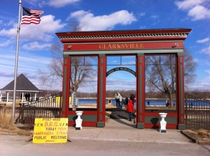 Entrance to the Riverfront park in Clarksville