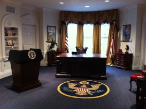 The Oval Office- part of the US Government exhibit. There is also a mock Supreme Court and Senate.