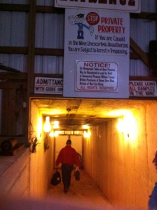 Walking down into the mine