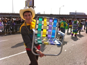 Marching in the 2012 Soulard Mardi Gras Parade