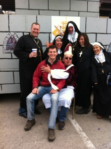 This float represents the St. Louis Catholic Church.