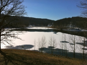 The park is situated around a large lake that sometimes freezes in the winter.