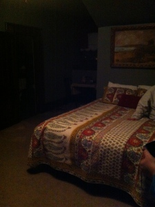 The room where we called the spirit. The dog walked in front of the bed.