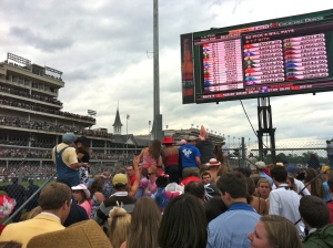 Watching the 2011 Derby from the video boards. This year, Churchill installed the largest screen in the world on the backstretch.