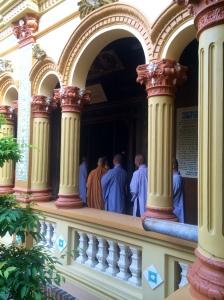 The monks walking in