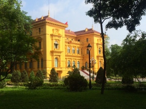 Vietnamese Presidential Palace- viewable directly after the mausoleum. Tourists can't walk any closer than this.