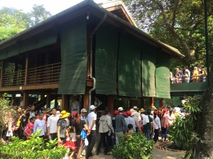 Swarms of people trying to see the house on stilts.