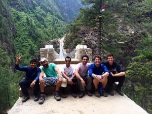 Team International at the top of the bridge