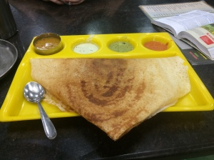 Masala Dosa- basically a savory crepe with chutneys