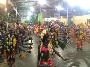 Shiva dancers in the prep area