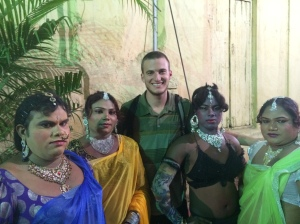 """All the men went crazy when these """"girls"""" started dancing. Everyone stopped what they were doing to watch. I wanted a picture with the Shiva dancers, but the men insisted I take a picture with them instead."""