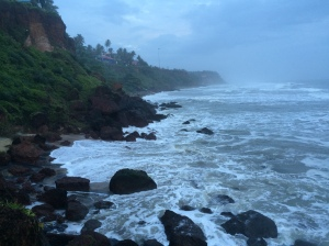 The bottom of the Varkala cliffs. There's normally a beach here.