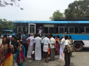 Busses loading to get to Tirumala