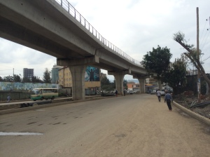 Typical street in Addis near the district called Mexico. They are currently building a metro light rail but progress is slow.