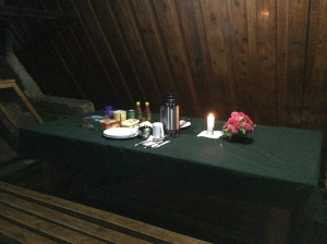 Franz's dinner set up with the candle and flower