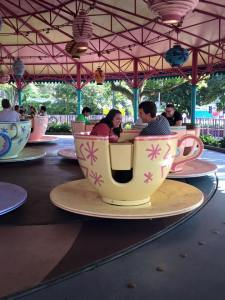Riding the teacups with Sarah