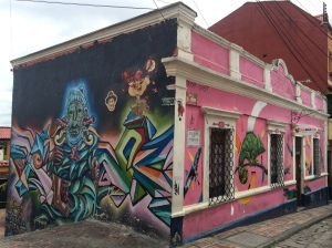 Bogota is famous for its street art. There are hundreds of buildings painted like this.