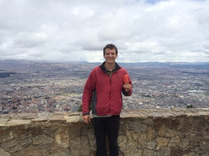 Enjoying a popcicle at the top of Montserrate. Colombians love their ice cream.