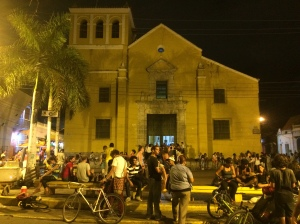 Busy square around 10pm