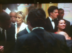 On camera with Sharon Stone and James Earl Jones!