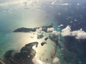 Flying over the Abacos en route to Nassau