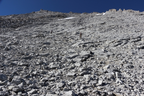 The steep ascent. Rockfalls and shifting rocks were ever-present dangers.
