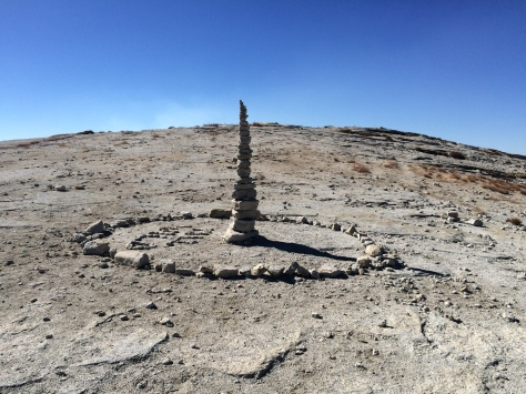 Rock art on the expansive summit of Half Dome